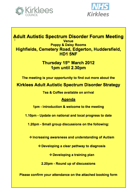 Adult (18+) ASD Forum Meeting, 15 March 2012